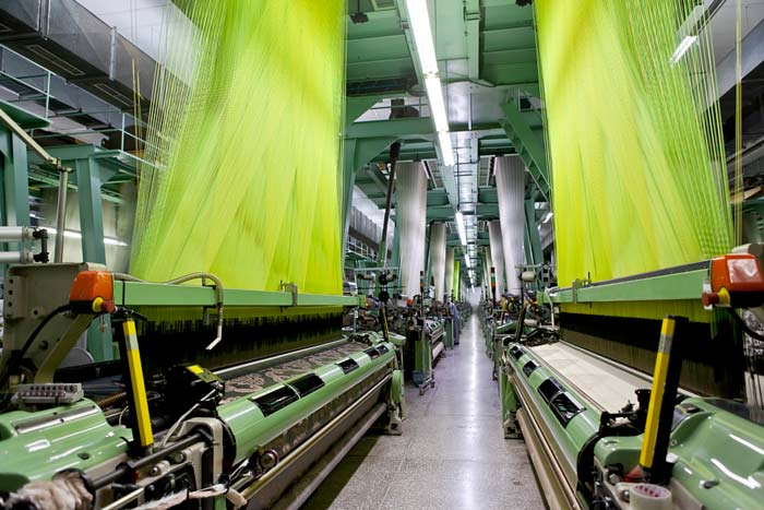 Wide angle and perspective from textile factory