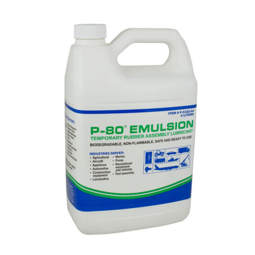 p80 emulsion temporary rubber assembly lubricant
